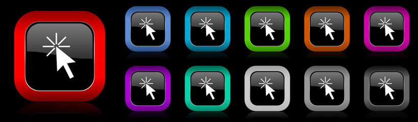 click here vector icon set