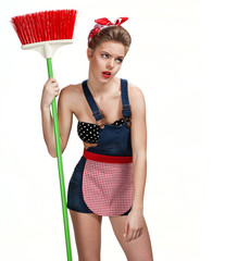 Exhausted cleaning lady with broom. Cleaning service concept