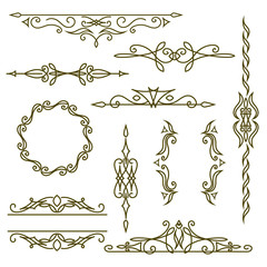 Monogram design elements, graceful template. Elegant line art