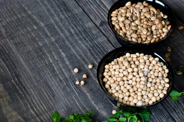 chickpeas and beans in bowls