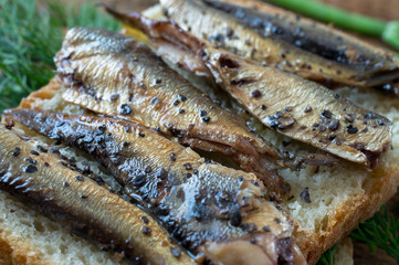 Smoked fish on bread in rustic style