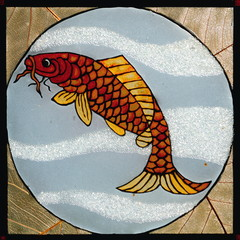 Fish painted on glass