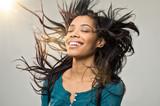 Joyful woman with hairstyle
