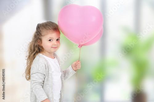 Poster Mädchen mit Luftballon