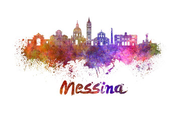Messina skyline in watercolor
