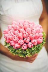 bridal bouquet with pink tulips