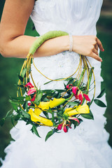 bridal bouquet with yellow lilies