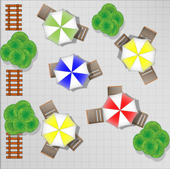 Illustration of square with chairs and parasols from above