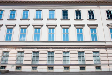 Rows of windows, old architecture of Vienna.