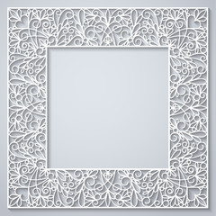 White square decor with shadow on white