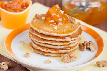 pancakes with apricots and honey for breakfast