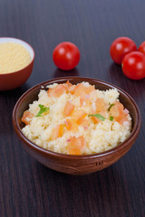 Cous Cous and vegetables, vertical