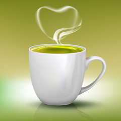 Realistic cup of green tea with heart shape steam
