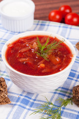 Ukrainian and russian national red borsch with herbs