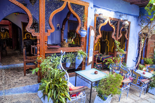 Foto Spatwand Marokko beautiful outdoor seating,Chefchaouen, Morocco