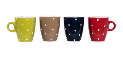Colour cups isolated on white background