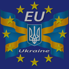 Ukrainian and European flag.