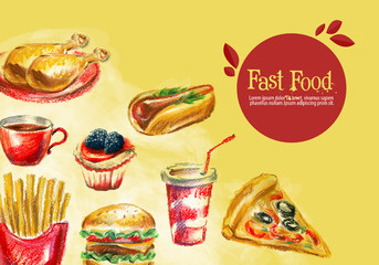 fast food vector logo design template. burger, fries or grilled