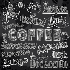 Sorts of Coffee Lettering on Chalkboard