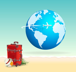 Red Vacation Travel Suitcase on Sunny Beach with Globe Airplane