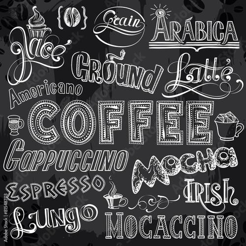 Sorts of Coffee Lettering on Chalkboard