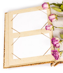 photo album with frames and withered rose