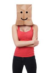 smiley paper bag woman