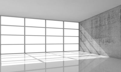 3d architecture background, empty interior with sunlight