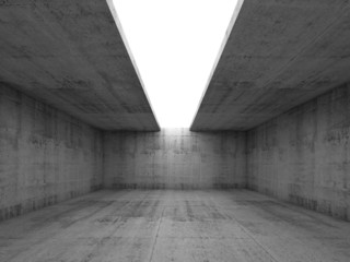 Concrete room interior with opening in ceiling, 3d