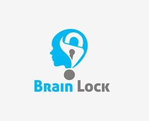 Brain Lock vector logo and symbol Design