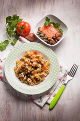 pasta with fresh salmon tomatoes capers and olives