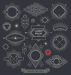 Set of emblem, sign and hipster labels with sunburst