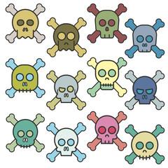 Cartoon skull with bones vector icon set