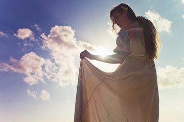 beautiful bride dressed in wedding dress