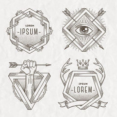 Tattoo style line art emblem with heraldic elements