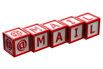 Blocks with word mail isolated on white background
