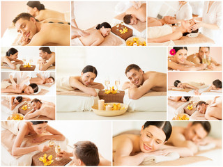 happy family couple in spa salon