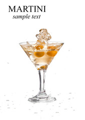 A martini glass on a white background; the water