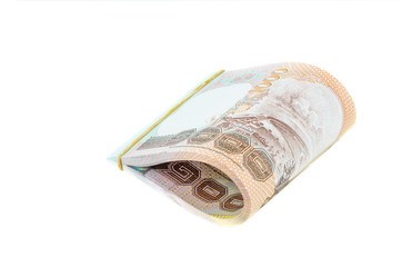 Stack of Thai baht cash on isolated background