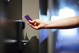 Opening hotel door with keyless entry card