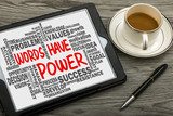 words have power with related word cloud hand drawing on tablet