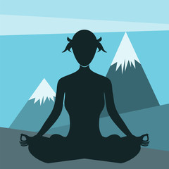 woman doing yoga in the mountains - flat design vector
