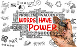 Fototapety words have power with related word cloud hand drawing on whitebo
