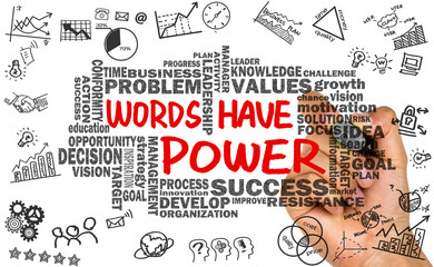 words have power with related word cloud hand drawing on whitebo