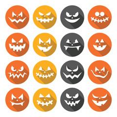 Scary Halloween pumpkin faces flat design icons set