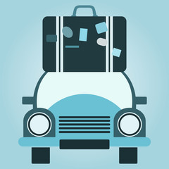 Retro voyage. Car and stack of suitcases. Travel concept. Vector