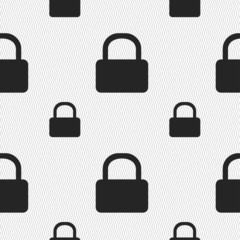Pad Lock icon sign. Seamless pattern with geometric texture. Vec