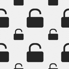 Open Padlock icon sign. Seamless pattern with geometric texture.