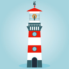 Vector illustration isolated. Striped red-white lighthouse. Trac