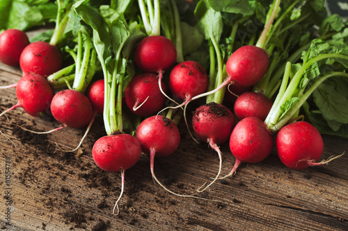 Bunch of healthy ripe radishes on rustic wooden background - 81554788